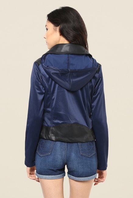 Yepme Black & Blue Skylar Leather Jacket