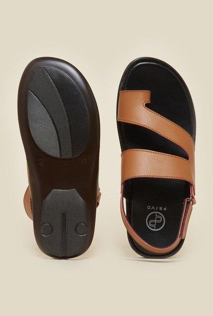 7f865de3400fd9 Buy Privo by Inc.5 Tan   Black Back Strap Sandals Online at best ...