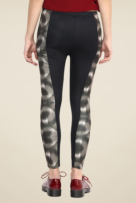 Yepme Jackui Black & Grey Party Leggings