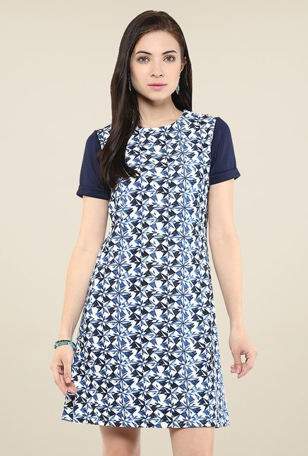 Yepme Blue Printed Shift Dress
