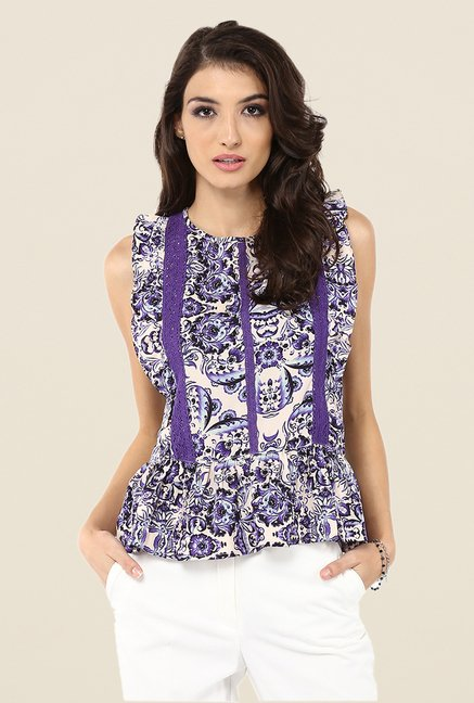 Yepme Purple Tabetha Ruffle Top