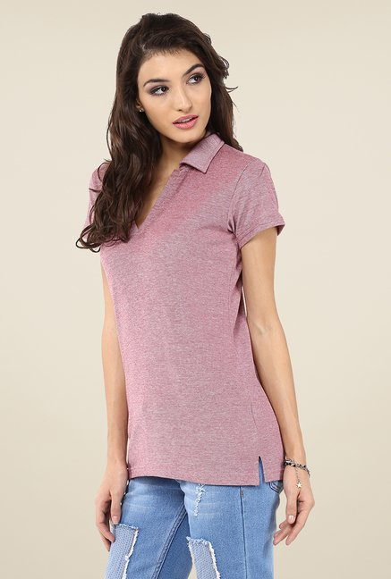 Yepme Perry Mauve Polo T Shirt