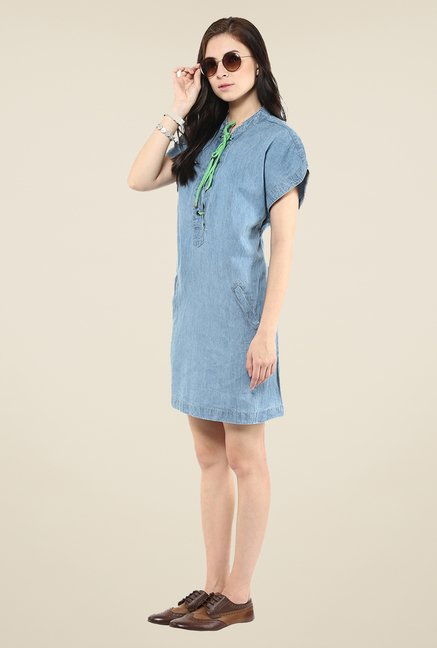 Yepme Blue Tie-up Denim Dress