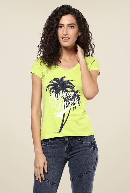 Yepme Green Spring Break Graphic Print Top