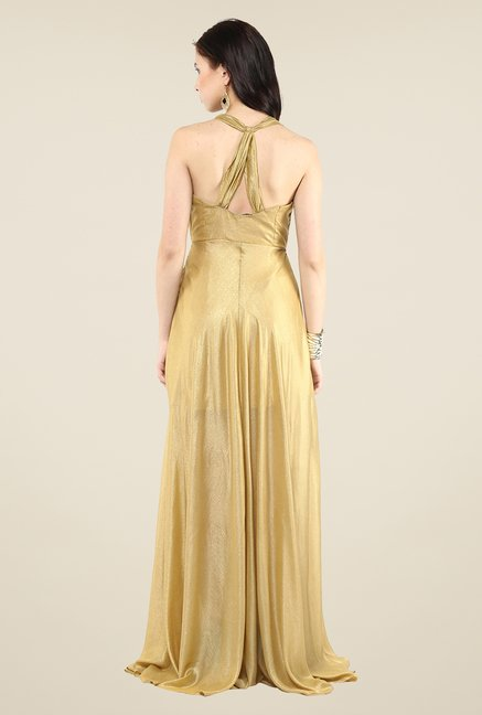 Yepme Gold Tie-up Maxi Dress