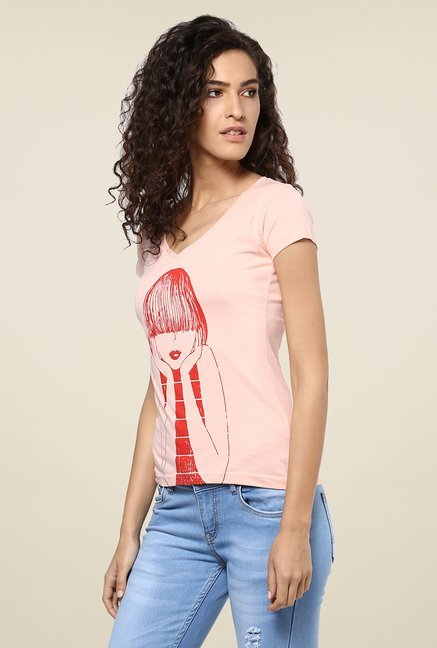 Yepme Pink Emo Girl Graphic Print Top