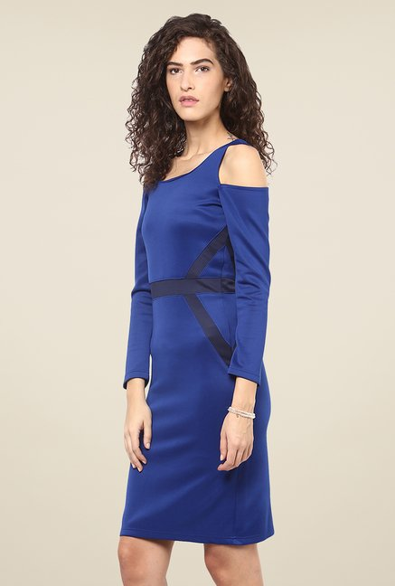 Yepme Blue Cut Out Bodycon Dress