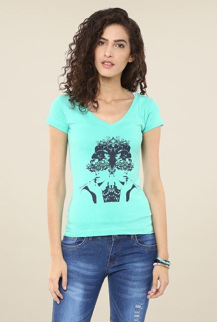 Yepme Green Retro Beauty Graphic Print Top