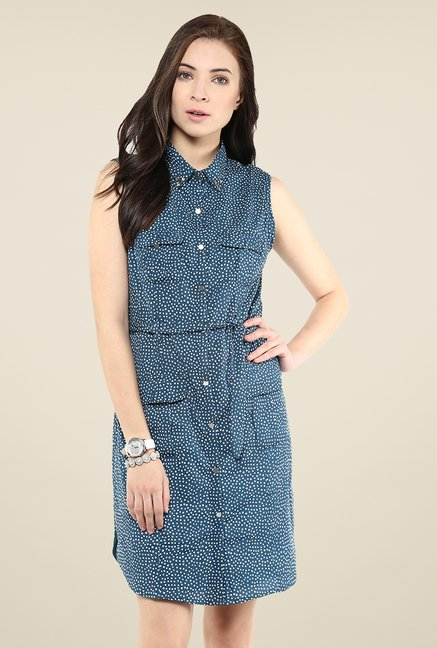 Yepme Blue Polka Dot Shirt Style Dress