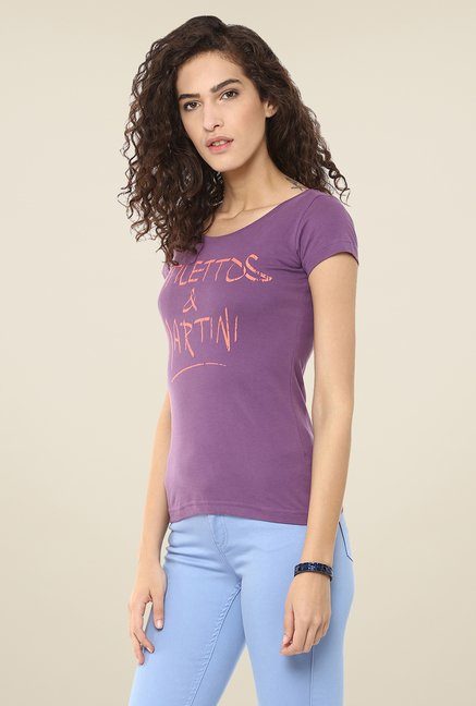 Yepme Purple Stilettos & Martini Graphic Print Top