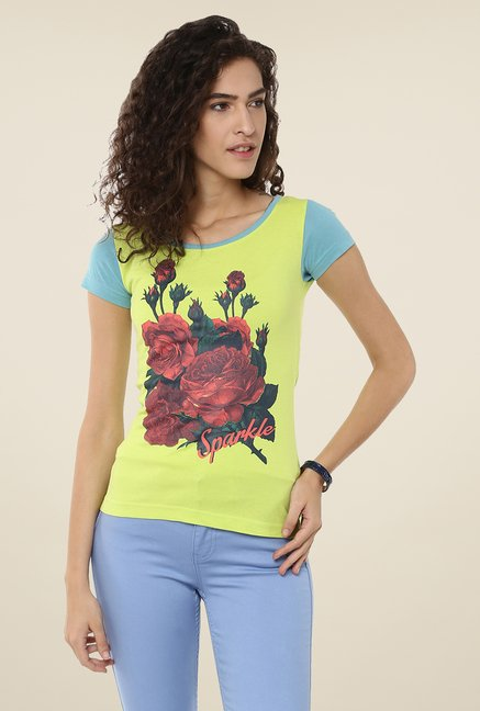 Yepme Green Flower Bouquet Graphic Print Top