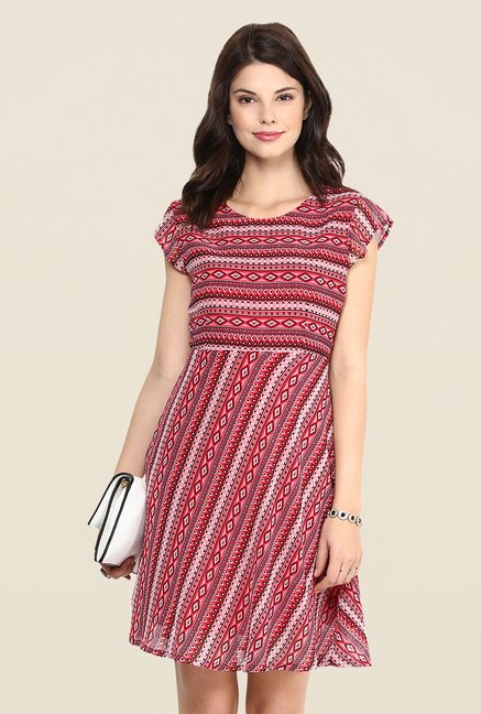 Yepme Betsy Red Printed Swing Dress