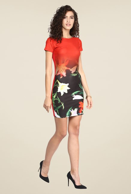 Yepme Orange & Black Floral Print Dress