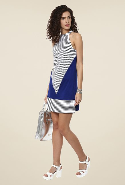 Yepme Blue & White Shift Dress