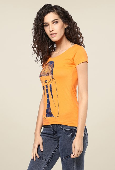 Yepme Orange Emo Girl Graphic Print Top