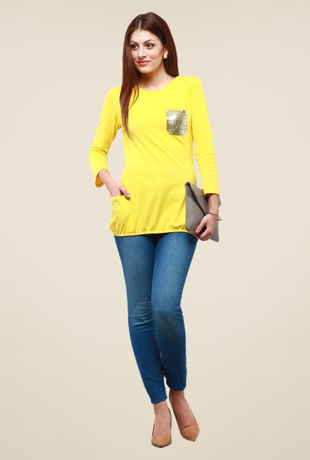 Yepme Yellow Amy Sequin Top