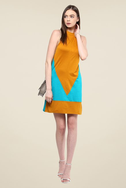 Yepme Cathy Mustard & Green Shift Dress