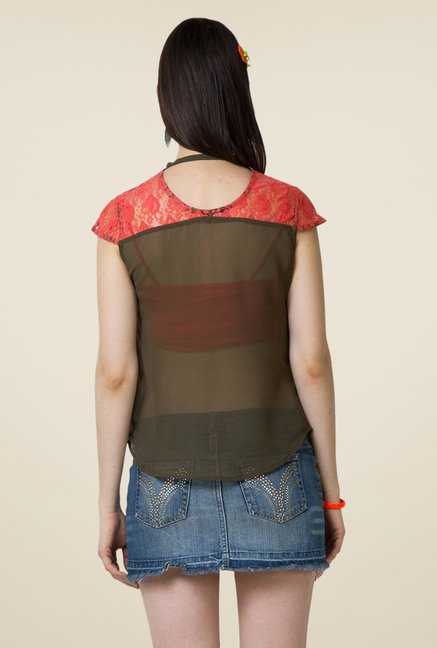 Yepme Olive Sisily Lace Top
