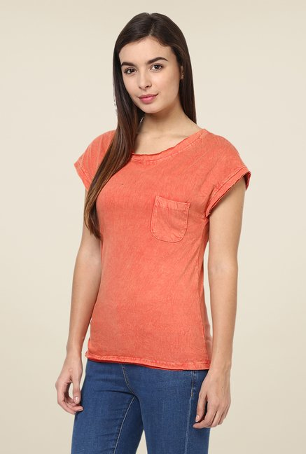 Yepme Peach Clarisa Premium Acid Wash Top