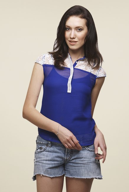 Yepme Blue Sisily Lace Top