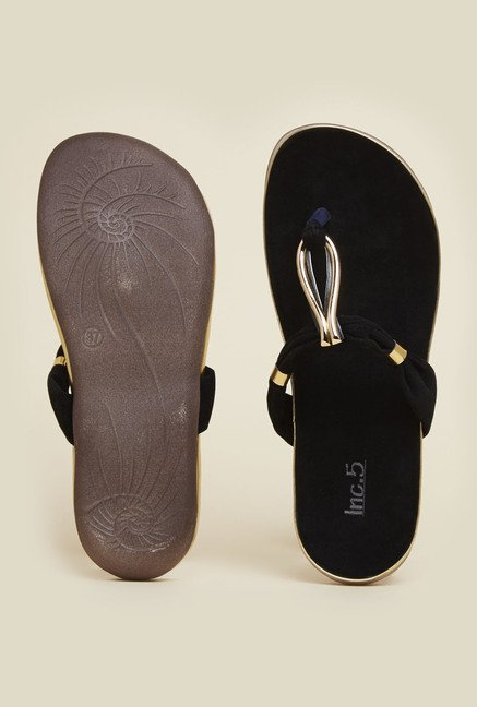 Inc.5 Black & Gold T-Strap Sandals