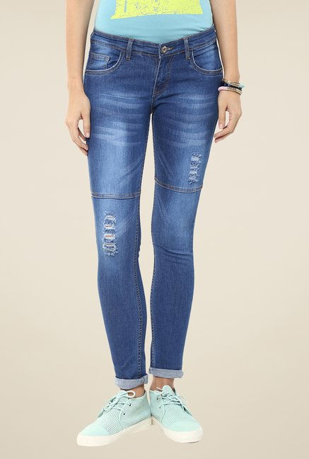 Yepme Blue Dynah Distressed Denim Jeans