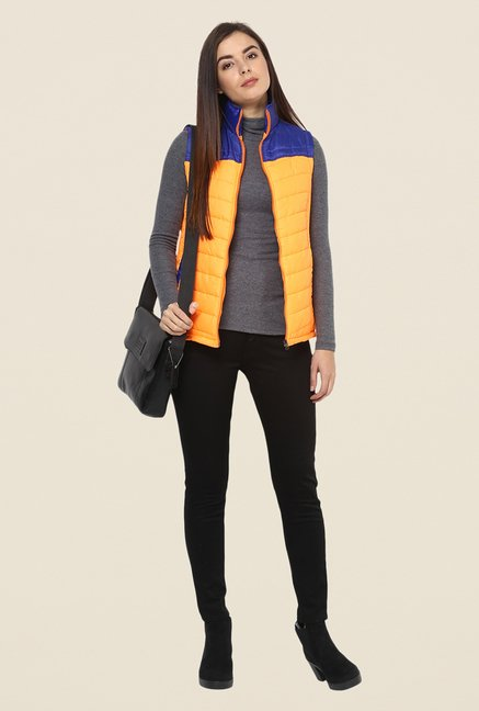 Yepme Orange & Blue Carice Sleeveless Jacket