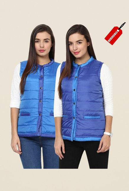 Yepme Blue Jamie Sleeveless Bomber Jacket