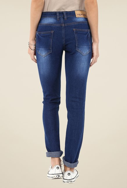 Yepme Blue Junia Patchwork Denim Cotton Polyblend Jeans