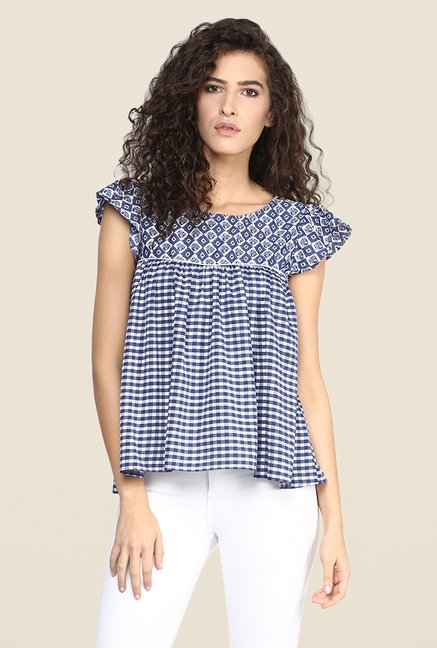 Yepme Blue Printed Top