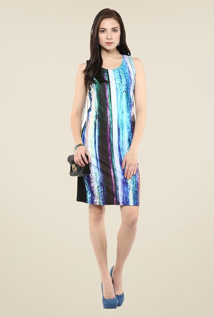 Yepme Blue & Black Digital Print Bodycon Dress