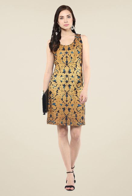 Yepme Gold & Blue Digital Print Bodycon Dress