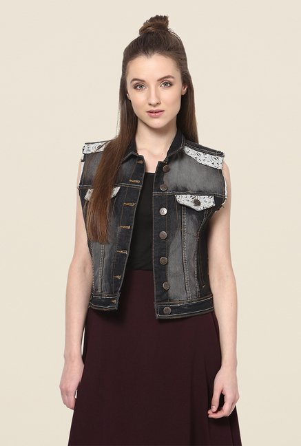 Yepme Black Ivana Sleeveless Denim Jacket