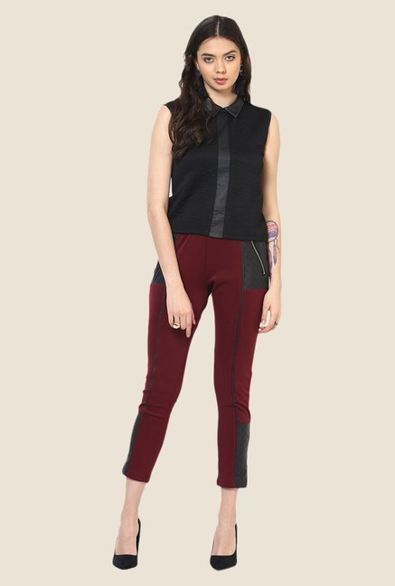 Yepme Nicola Maroon Party Jeggings