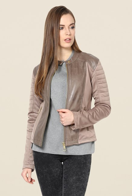 Yepme Beige Sam Leather Jacket