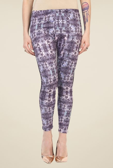 Yepme Ellise Violet & Black Party Leggings