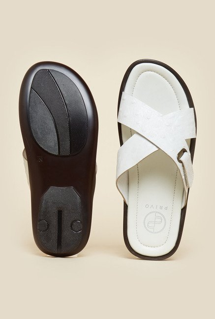 Privo by Inc.5 White Cross Strap Sandals