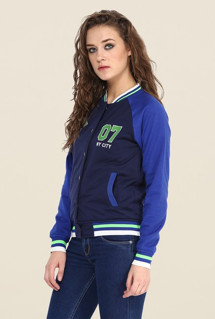 Yepme Navy & Blue Cindy Full-sleeved Jacket