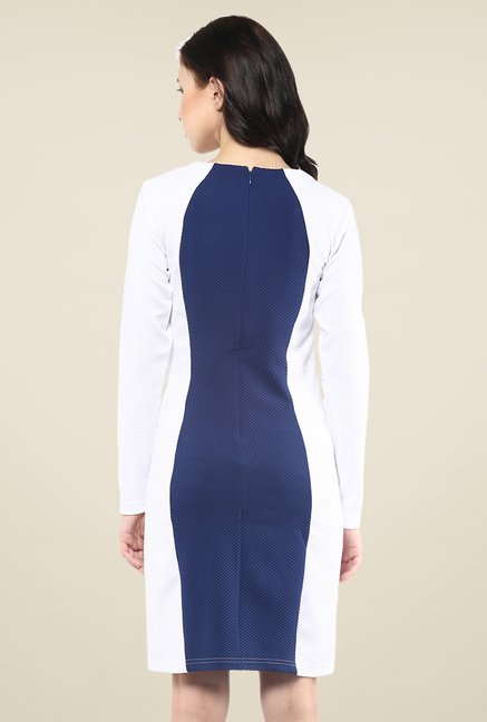 Yepme White & Blue Bodycon Dress