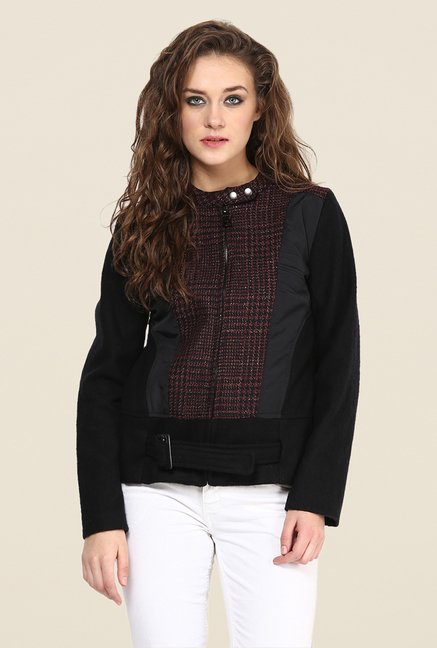 Yepme Black & Wine Piera Full-sleeved Jacket