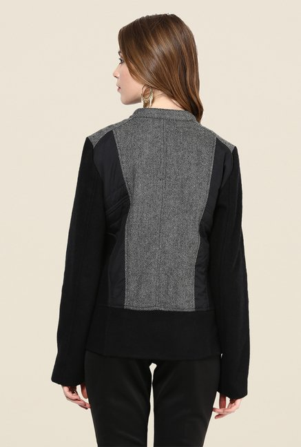 Yepme Black & Grey Piera Full-sleeved Jacket
