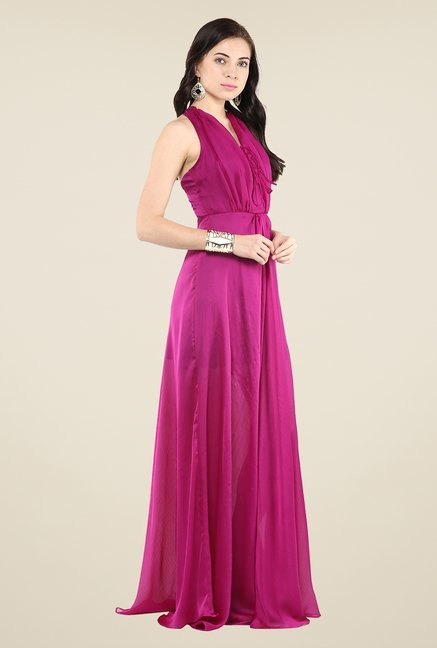 Yepme Magenta Tie-up Maxi Dress