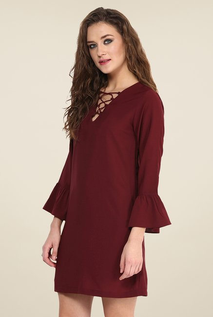 Yepme Marcie Maroon Shift Dress