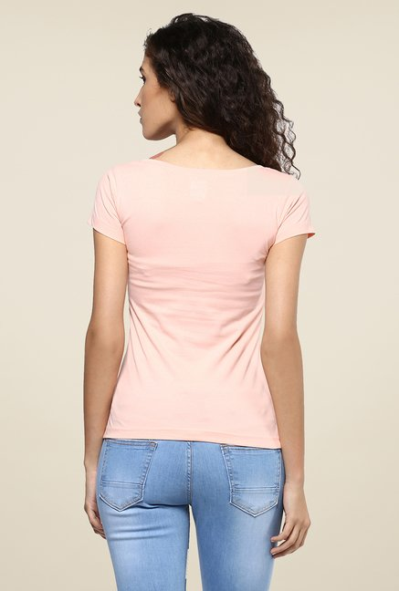 Yepme Peach Retro Beauty Graphic Print Top