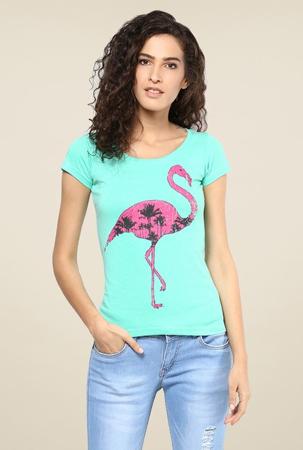 Yepme Green Flamingo Graphic Print Top