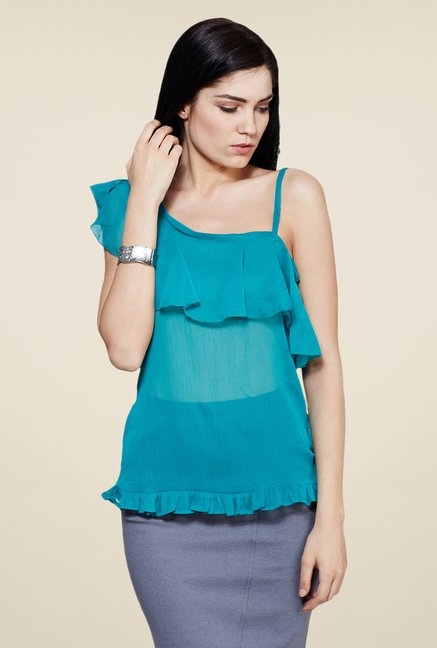 Yepme Teal Leeza One Shoulder Top