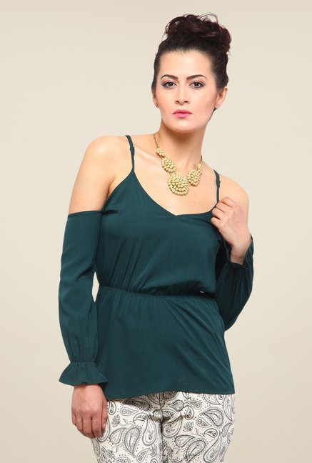 Yepme Green Keeya Cut Out Top