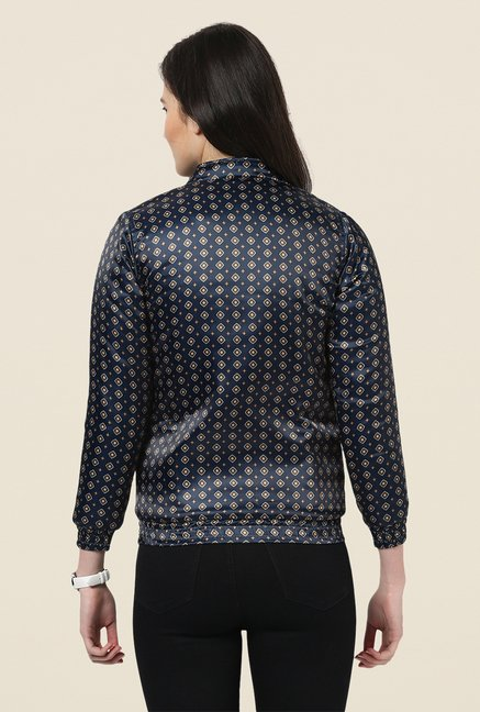 Yepme Navy Lesly Printed Full-sleeved Jacket