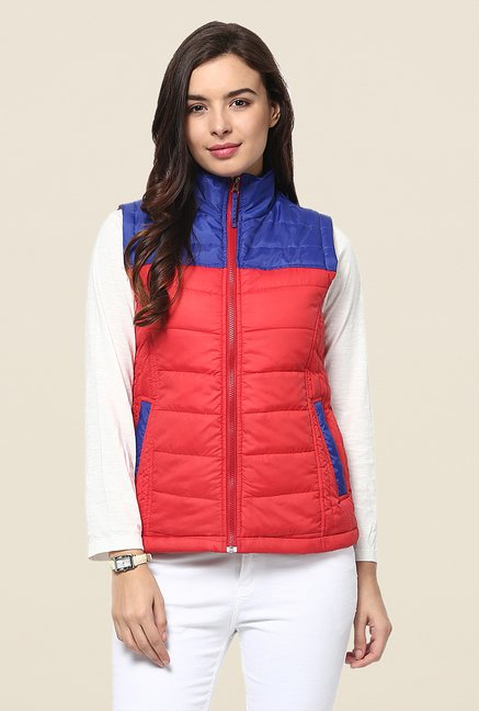 Yepme Coral & Blue Carice Sleeveless Jacket