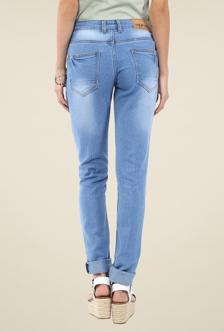 Yepme Blue Junia Patchwork Denim Jeans